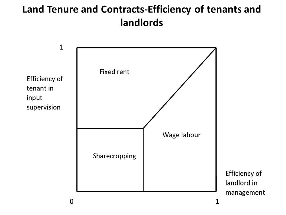 Land Tenure and Contracts-Efficiency of tenants and landlords