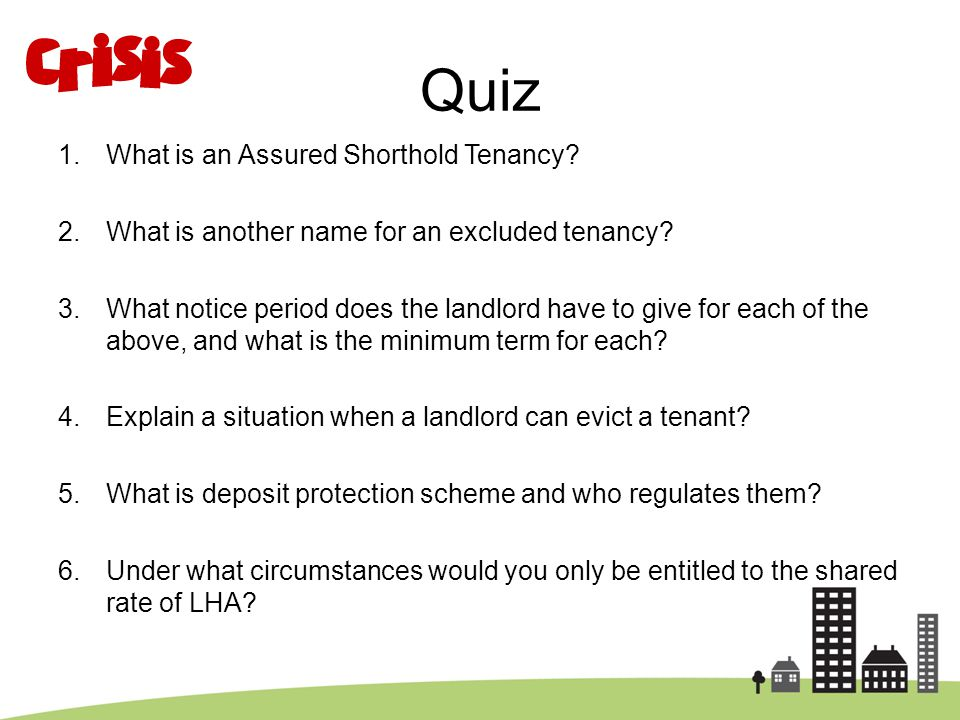 Quiz What is an Assured Shorthold Tenancy