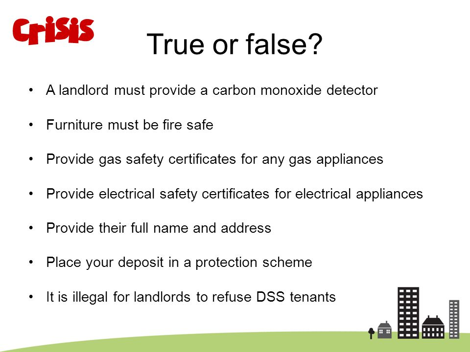 True or false A landlord must provide a carbon monoxide detector