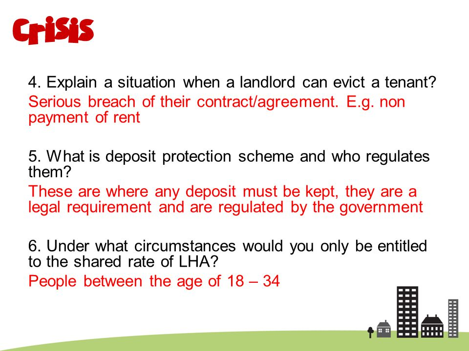4. Explain a situation when a landlord can evict a tenant