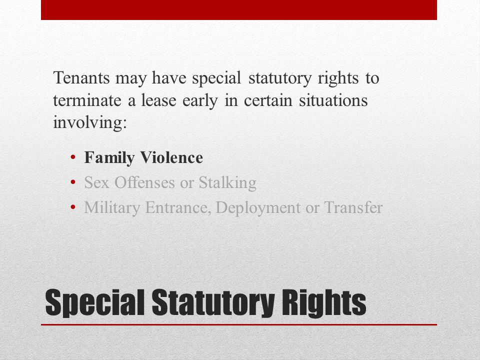 Special Statutory Rights