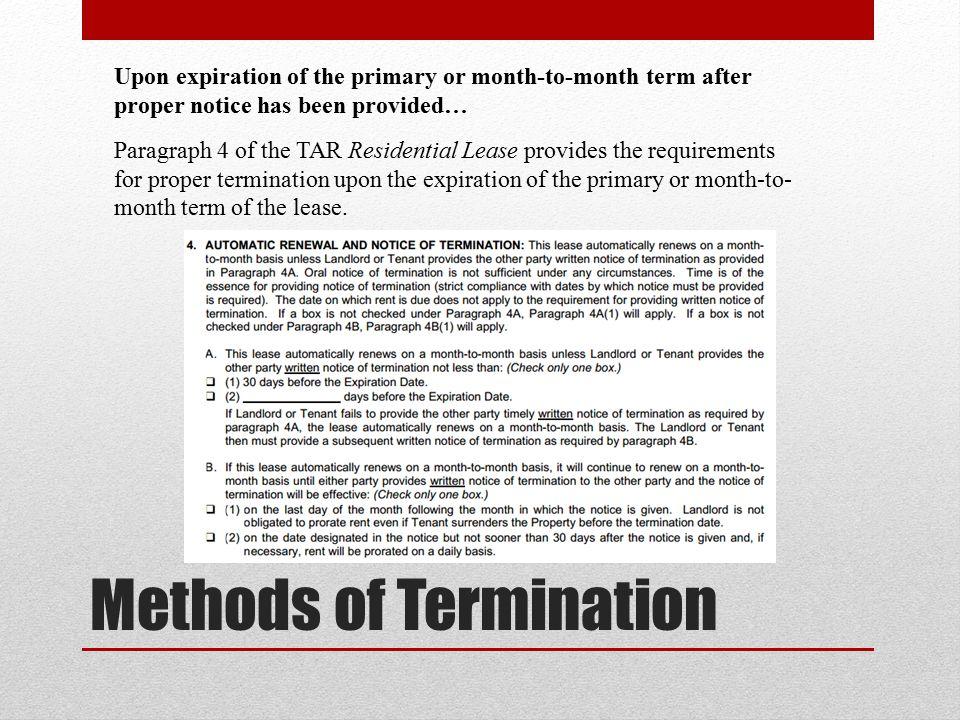 Methods of Termination