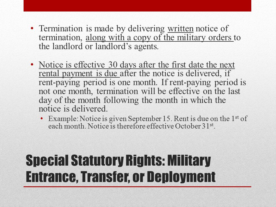Special Statutory Rights: Military Entrance, Transfer, or Deployment
