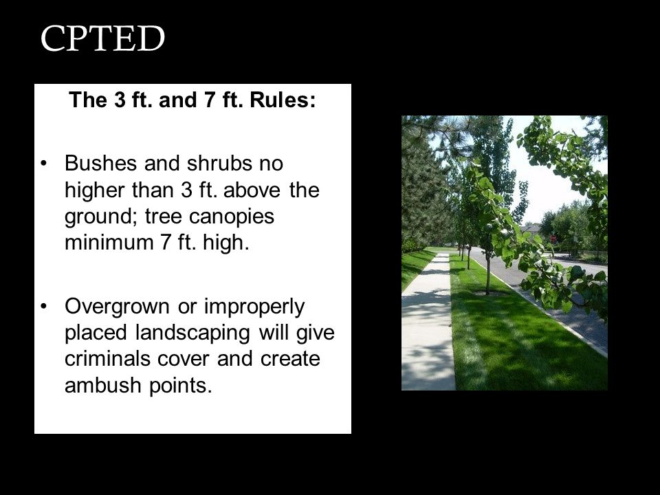 CPTED The 3 ft. and 7 ft. Rules: