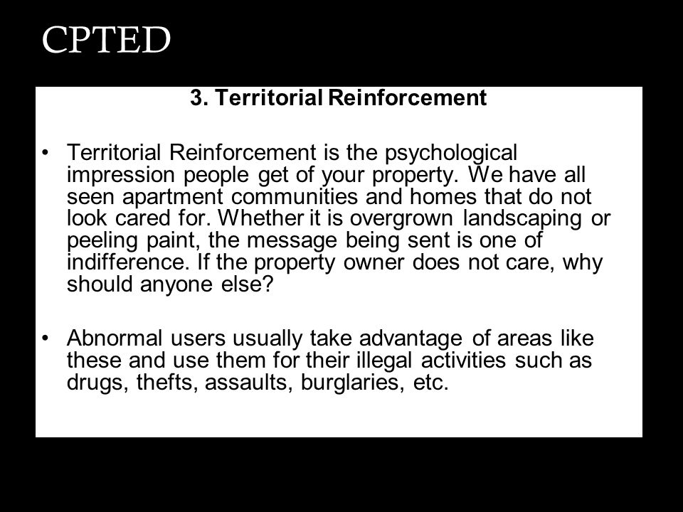3. Territorial Reinforcement