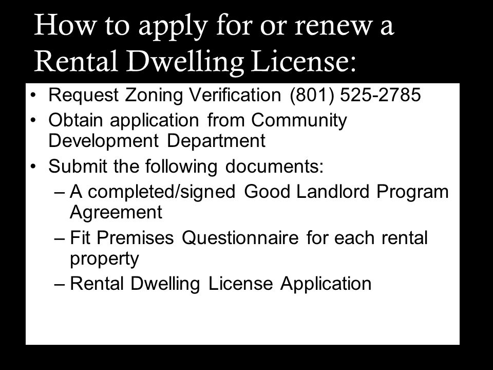 How to apply for or renew a Rental Dwelling License: