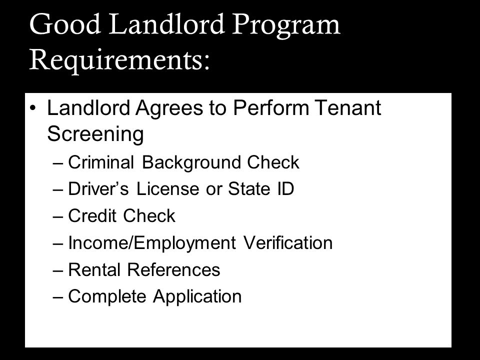 Good Landlord Program Requirements: