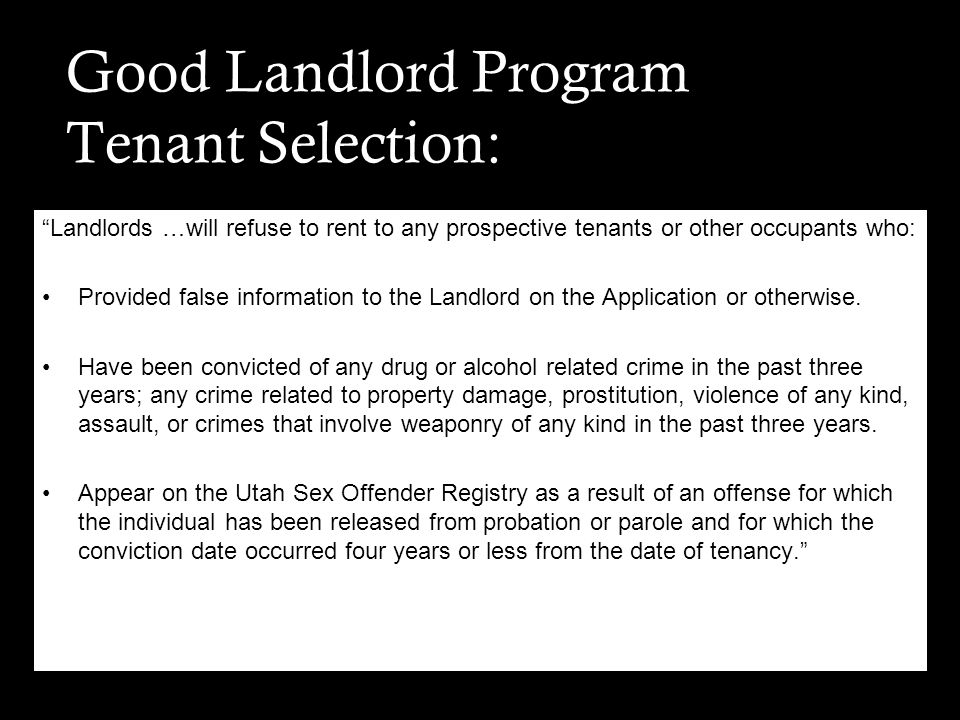 Good Landlord Program Tenant Selection: