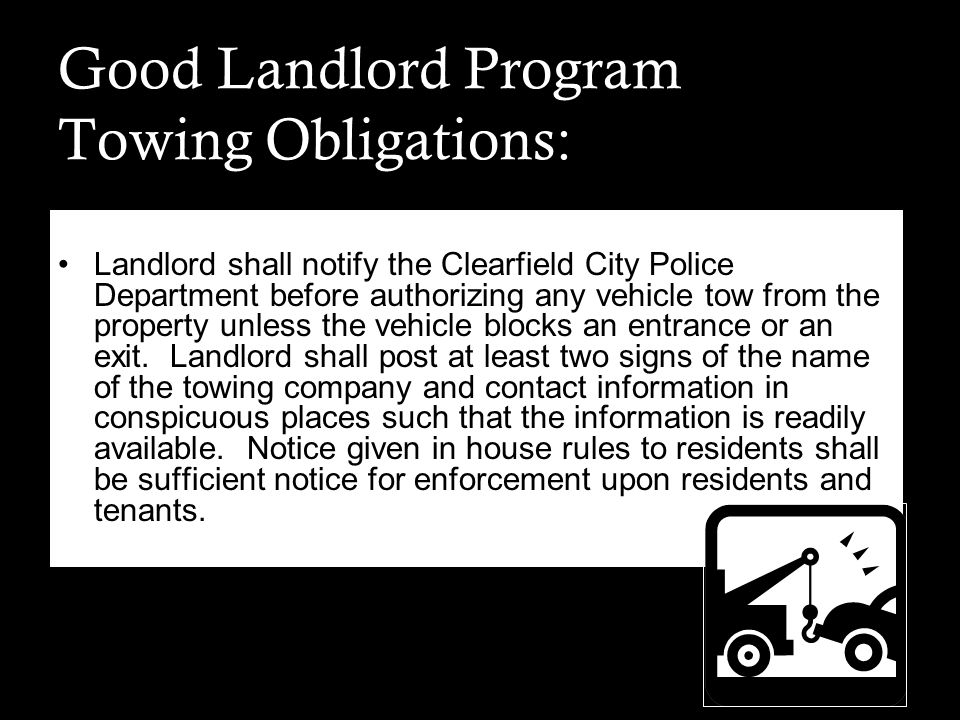 Good Landlord Program Towing Obligations: