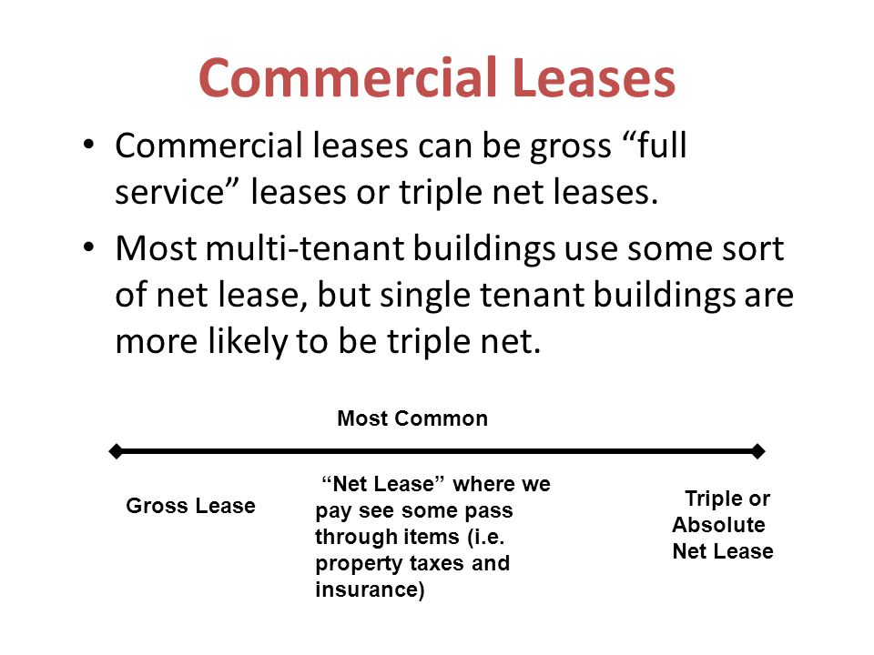 Commercial Leases Commercial leases can be gross full service leases or triple net leases.