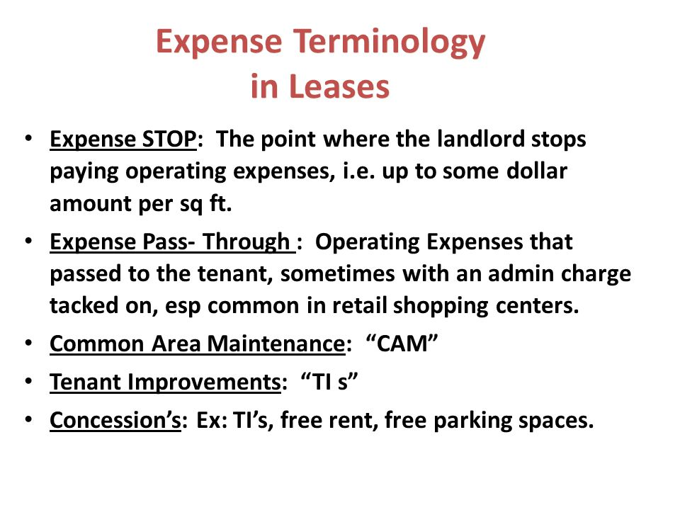 Expense Terminology in Leases