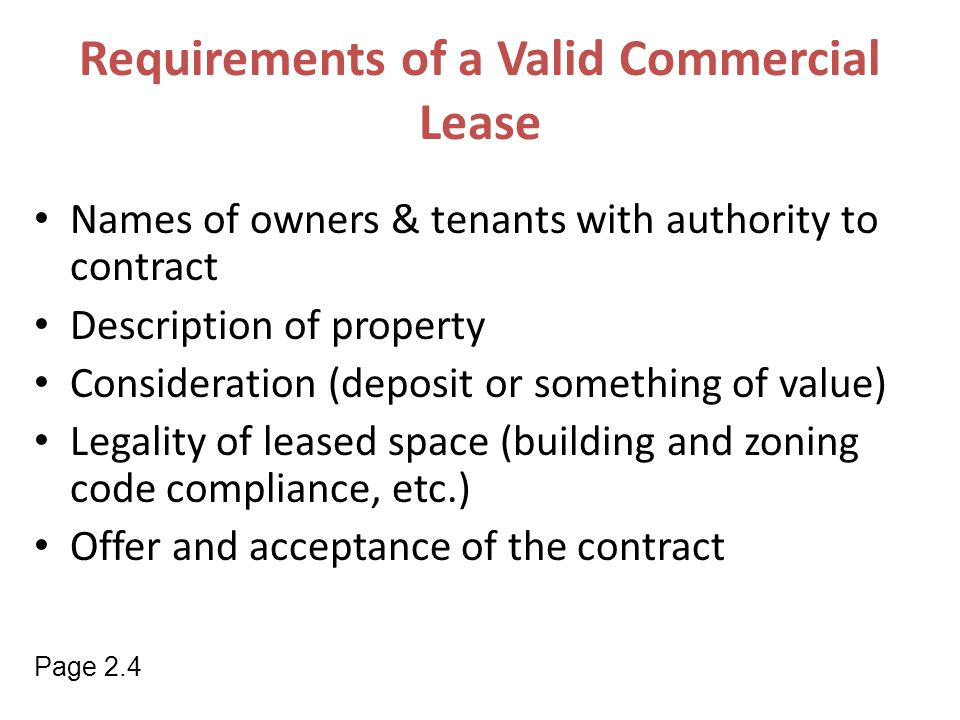 Requirements of a Valid Commercial Lease