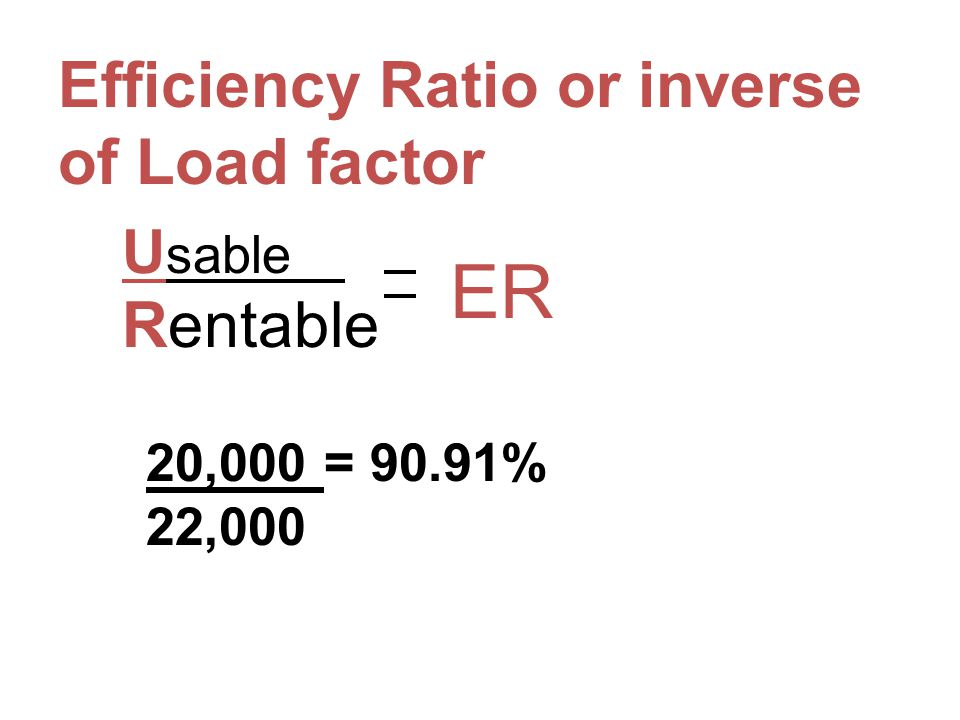 ER Efficiency Ratio or inverse of Load factor Rentable Usable