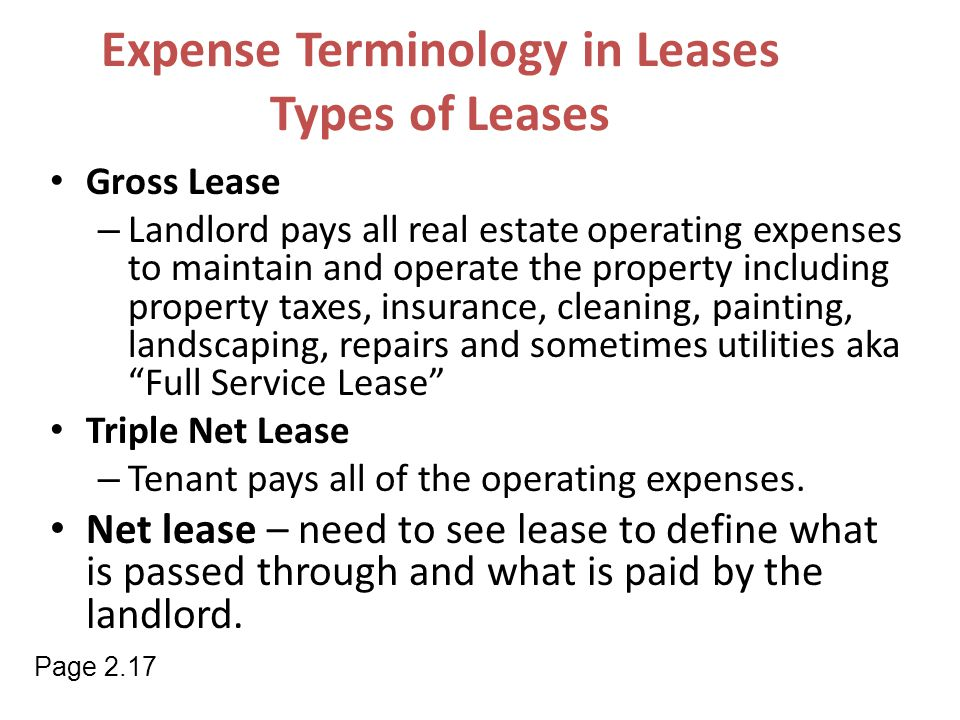 Expense Terminology in Leases Types of Leases