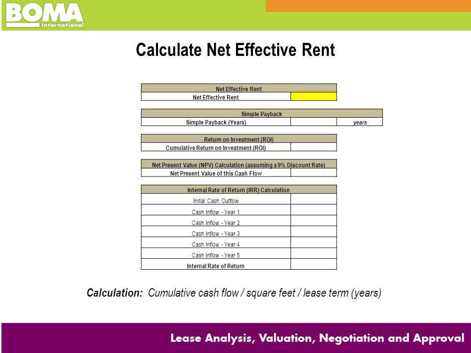 Calculate Net Effective Rent