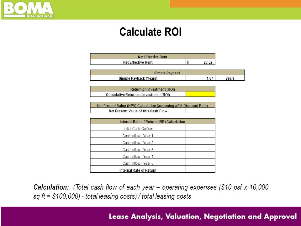 Calculate ROI Net Effective Rent. $ 20.52. Simple Payback. Simple Payback (Years)