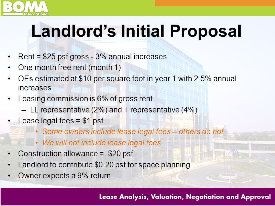 Landlord's Initial Proposal