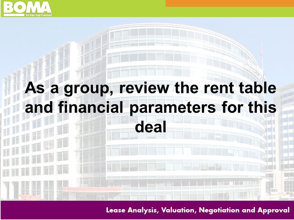As a group, review the rent table and financial parameters for this deal