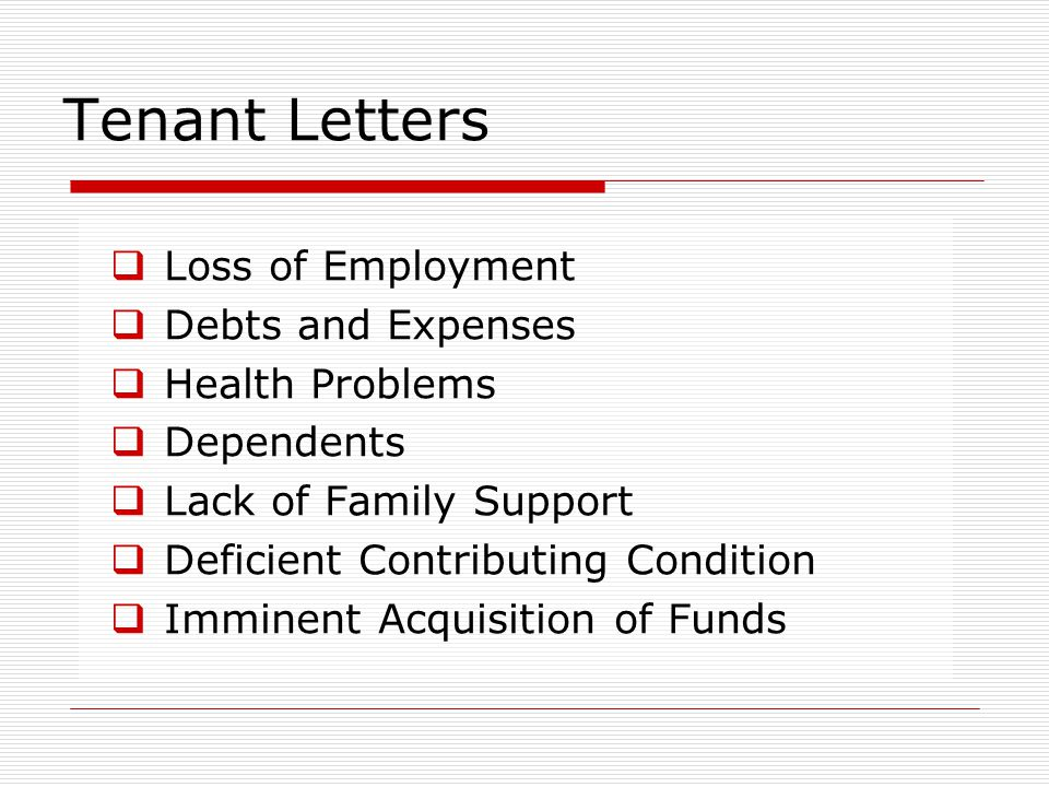 Tenant Letters Loss of Employment Debts and Expenses Health Problems