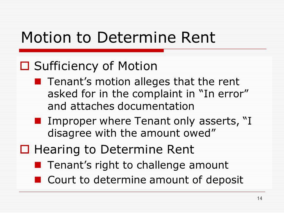 Motion to Determine Rent