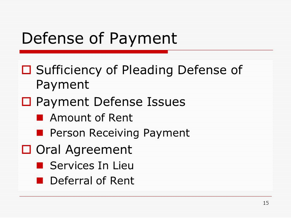 Defense of Payment Sufficiency of Pleading Defense of Payment