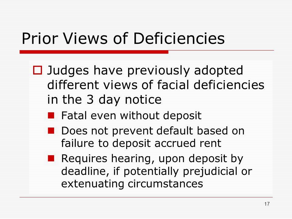 Prior Views of Deficiencies