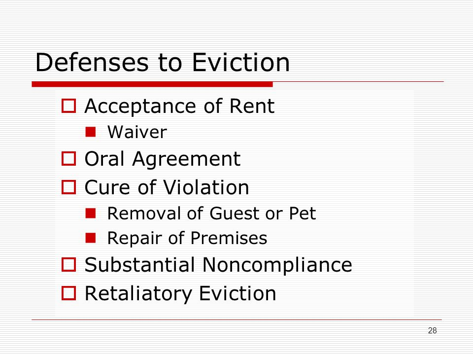 Defenses to Eviction Acceptance of Rent Oral Agreement