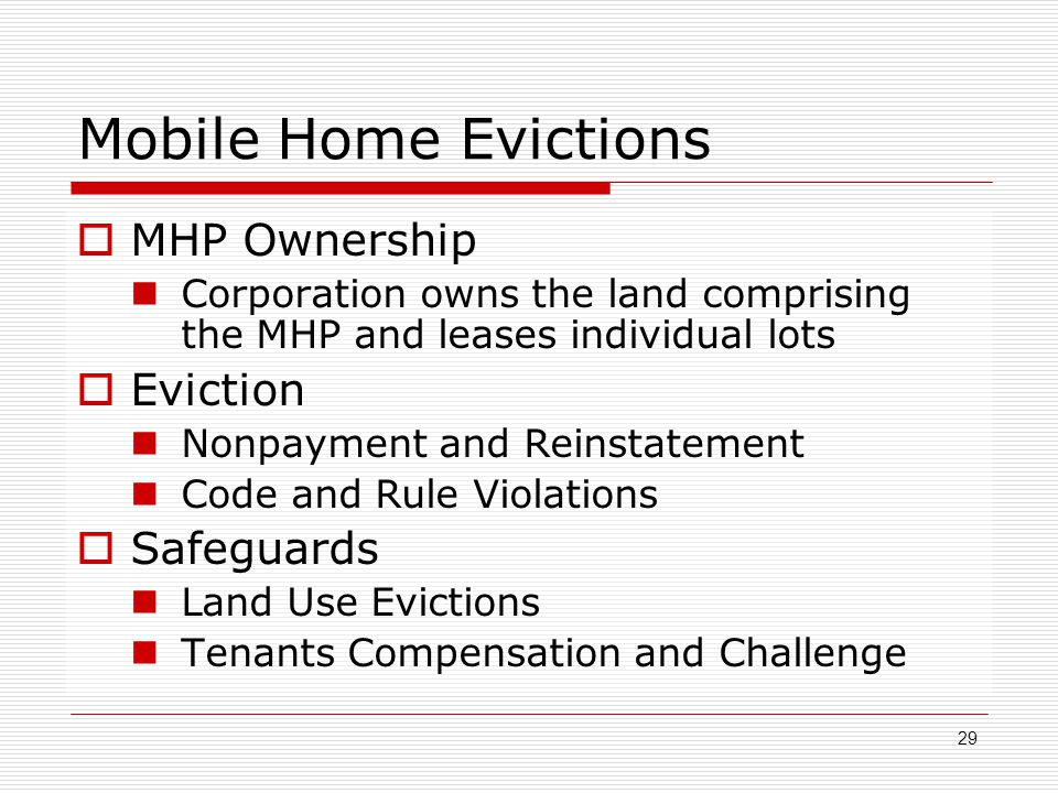Mobile Home Evictions MHP Ownership Eviction Safeguards