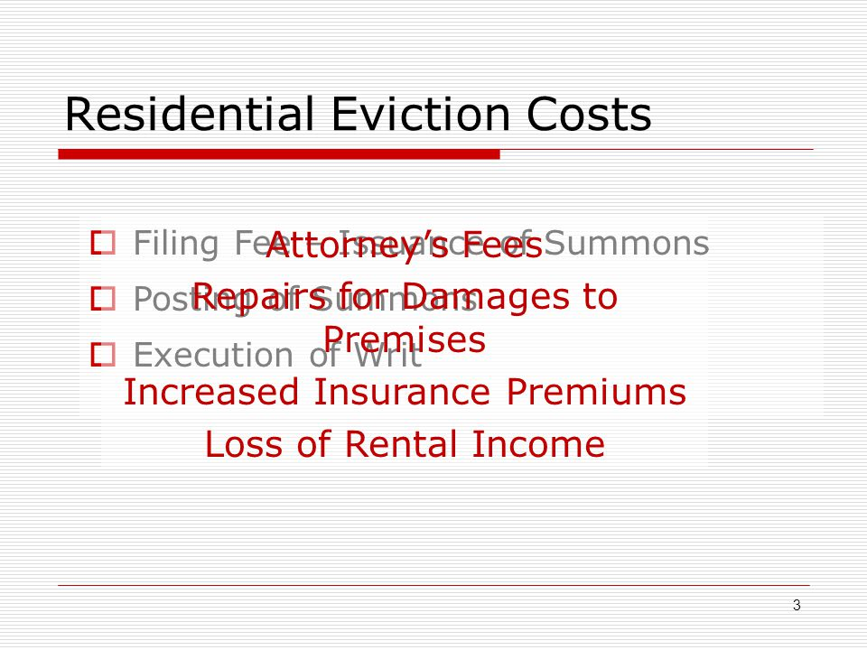 Residential Eviction Costs