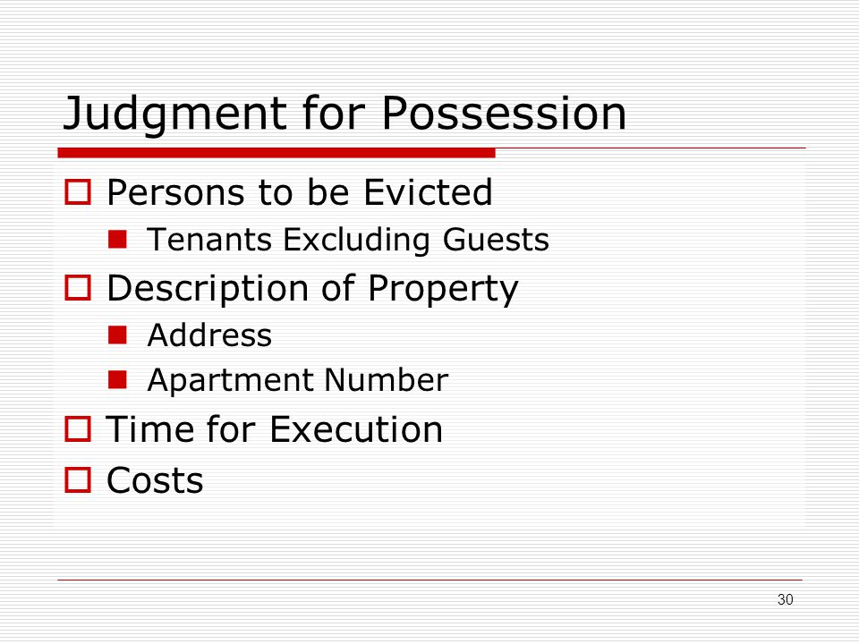 Judgment for Possession