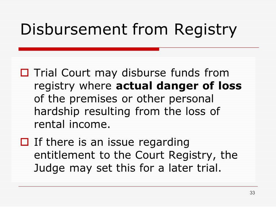 Disbursement from Registry