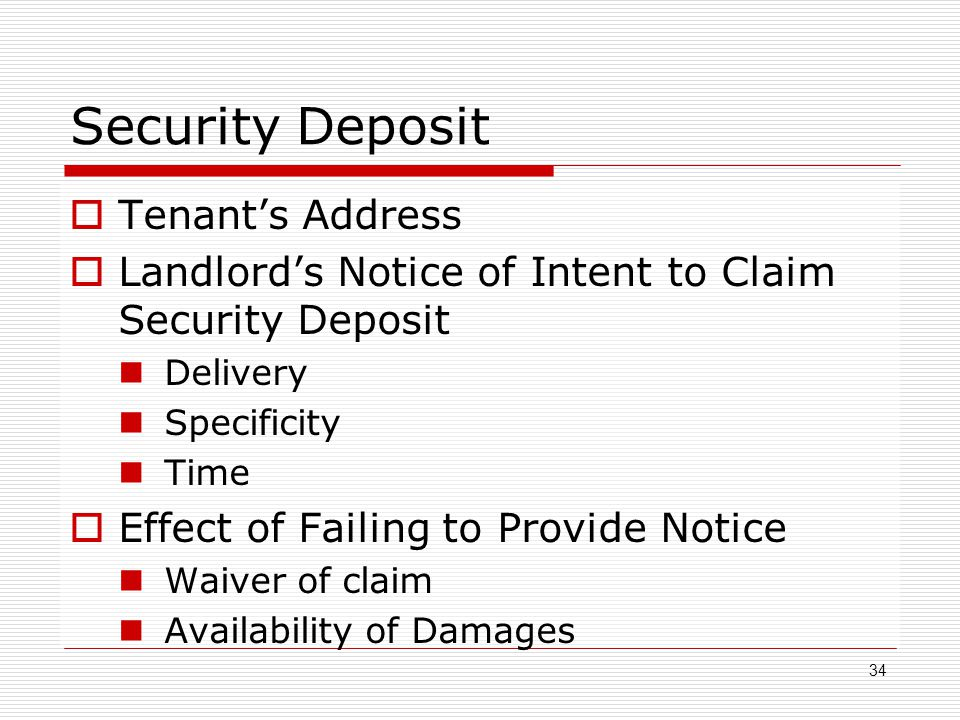 Security Deposit Tenant's Address