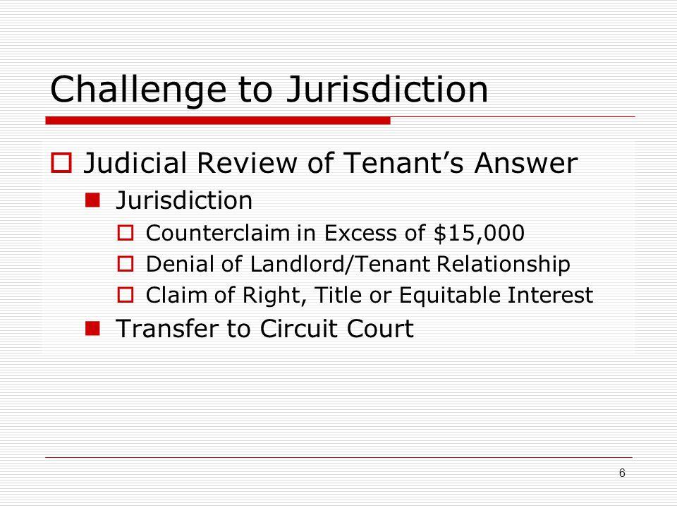 Challenge to Jurisdiction