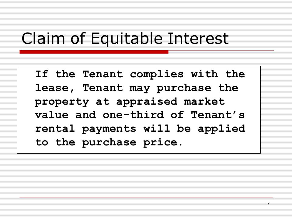 Claim of Equitable Interest