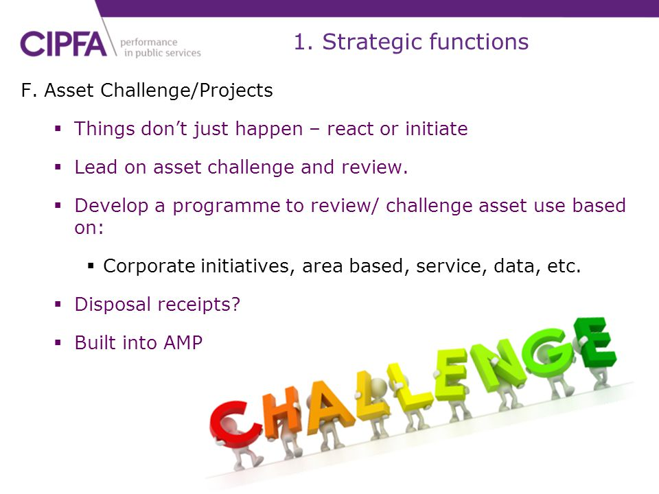 1. Strategic functions F. Asset Challenge/Projects