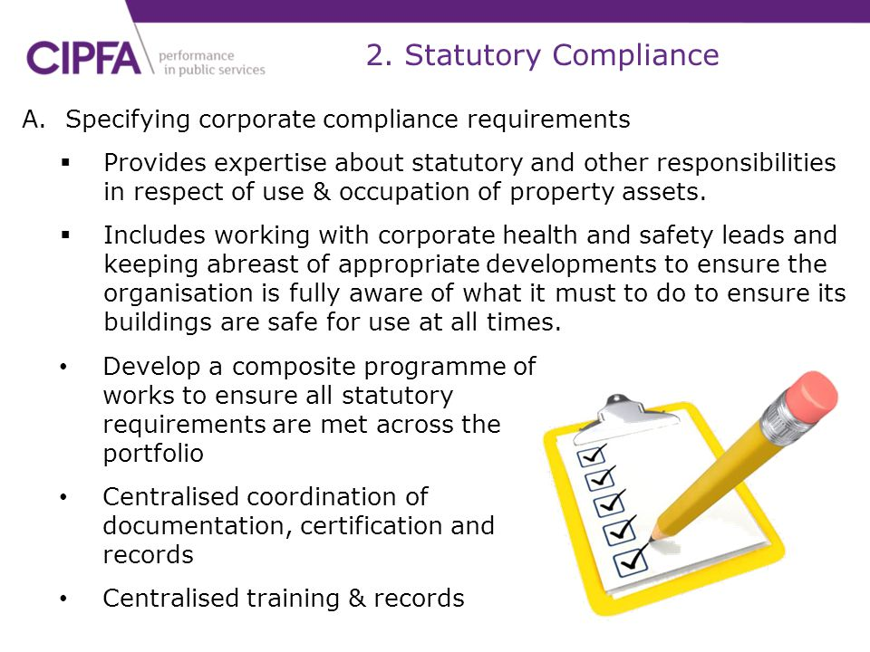 2. Statutory Compliance Specifying corporate compliance requirements