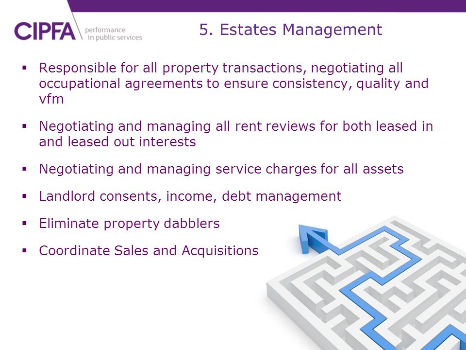 5. Estates Management Responsible for all property transactions, negotiating all occupational agreements to ensure consistency, quality and vfm.