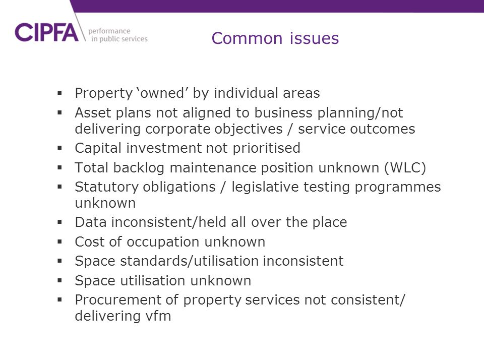 Common issues Property 'owned' by individual areas