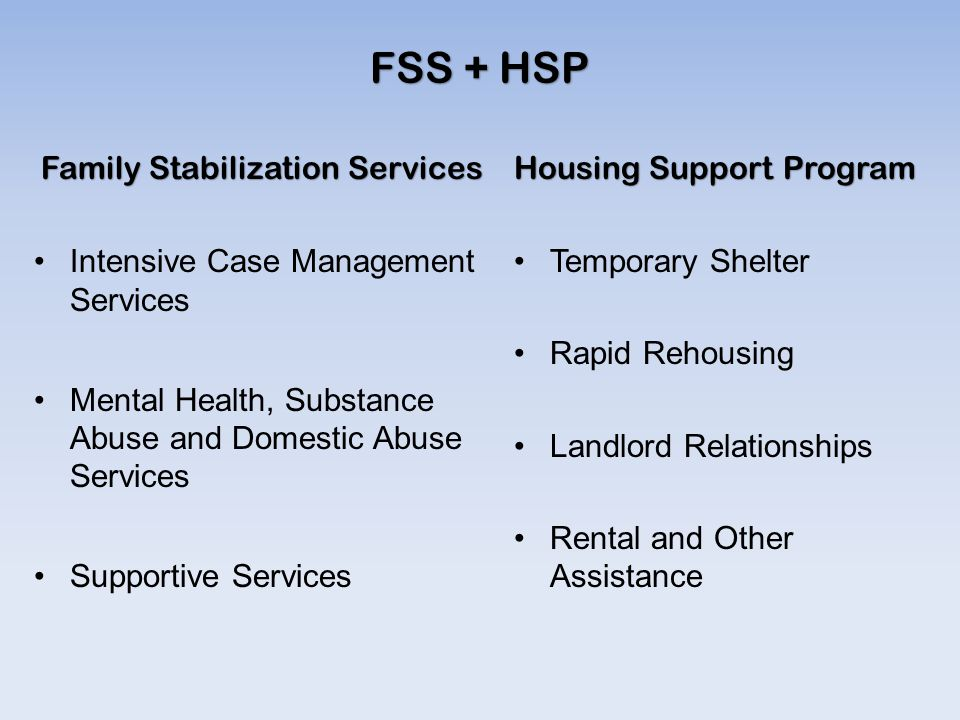 FSS + HSP Family Stabilization Services