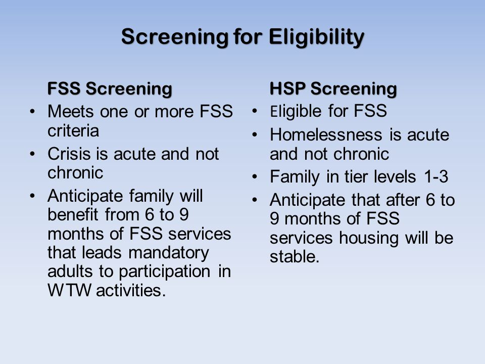 Screening for Eligibility