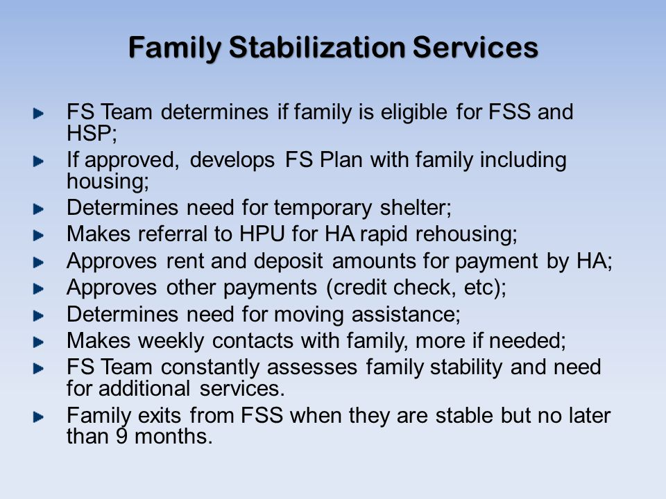 Family Stabilization Services