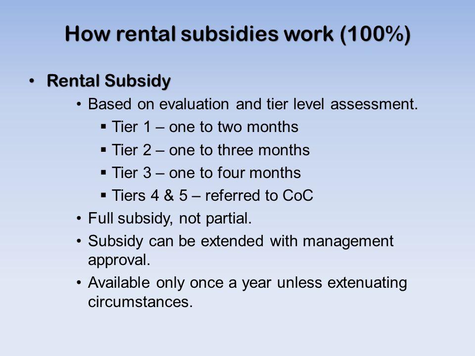 How rental subsidies work (100%)