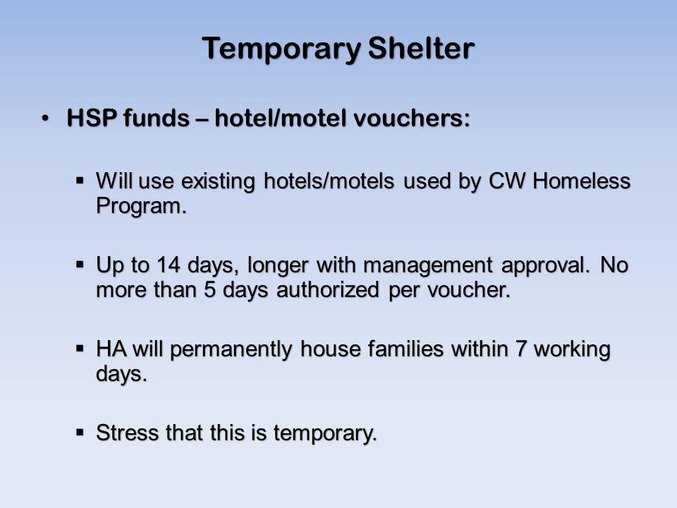 Temporary Shelter HSP funds – hotel/motel vouchers: