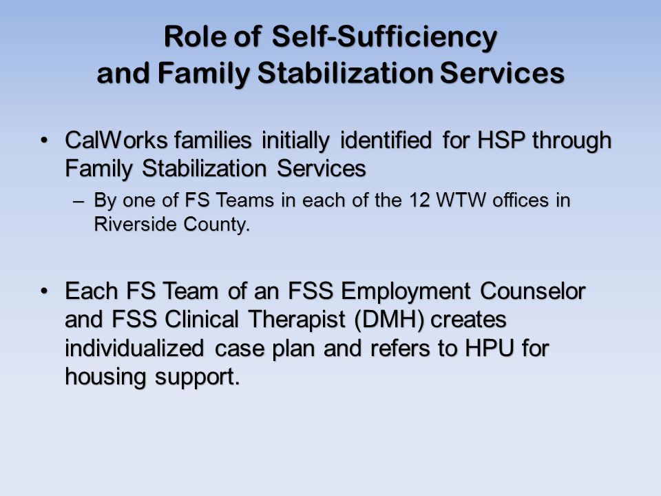 Role of Self-Sufficiency and Family Stabilization Services
