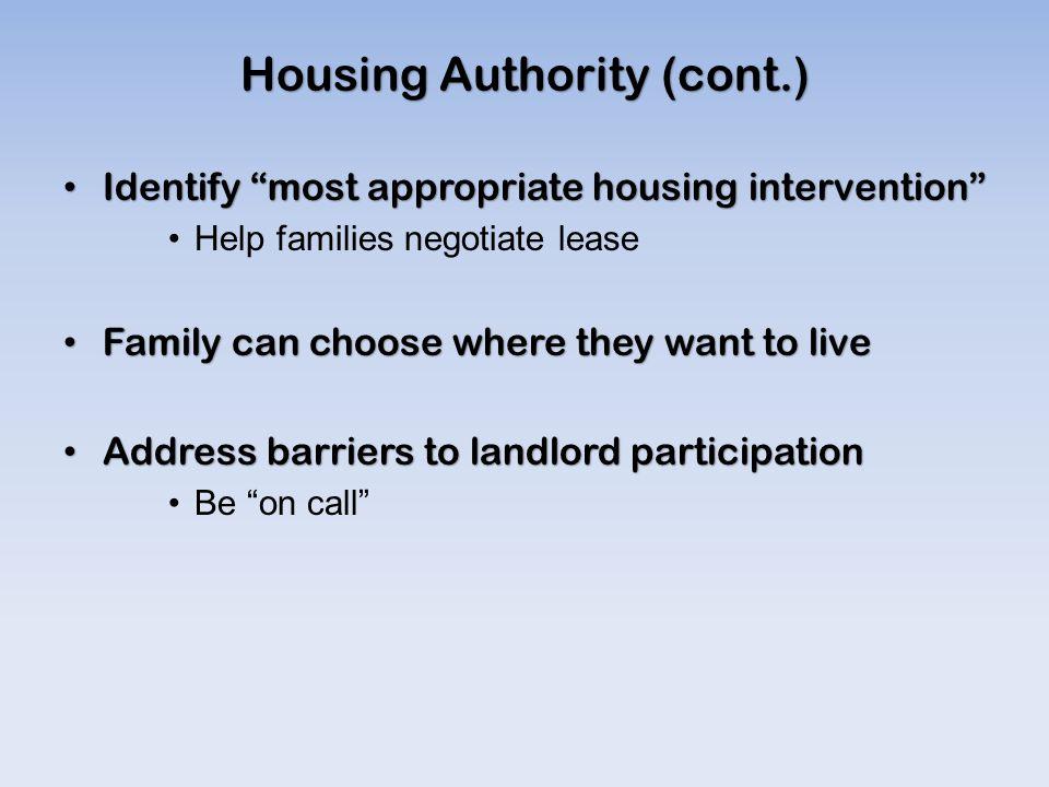 Housing Authority (cont.)