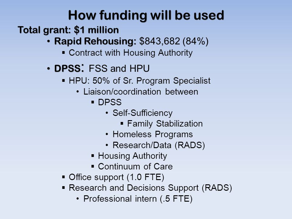 How funding will be used