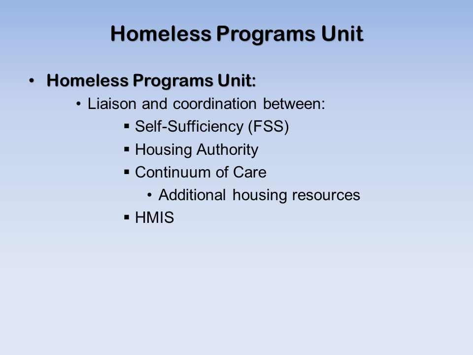 Homeless Programs Unit