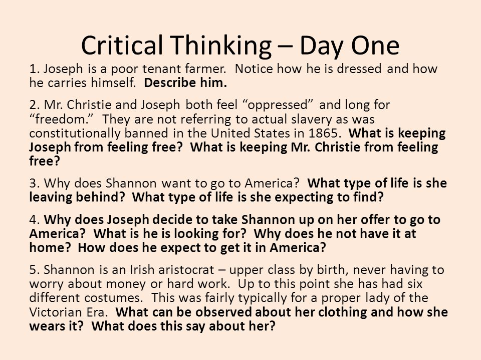 Critical Thinking – Day One