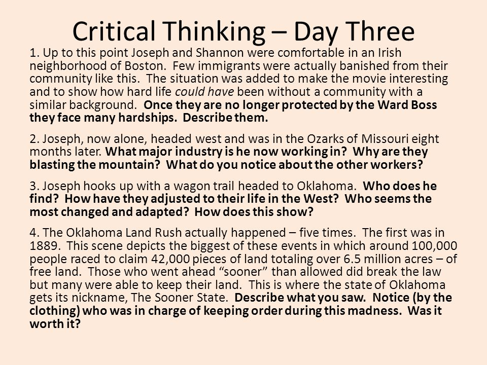 Critical Thinking – Day Three