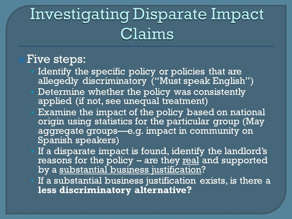 Investigating Disparate Impact Claims